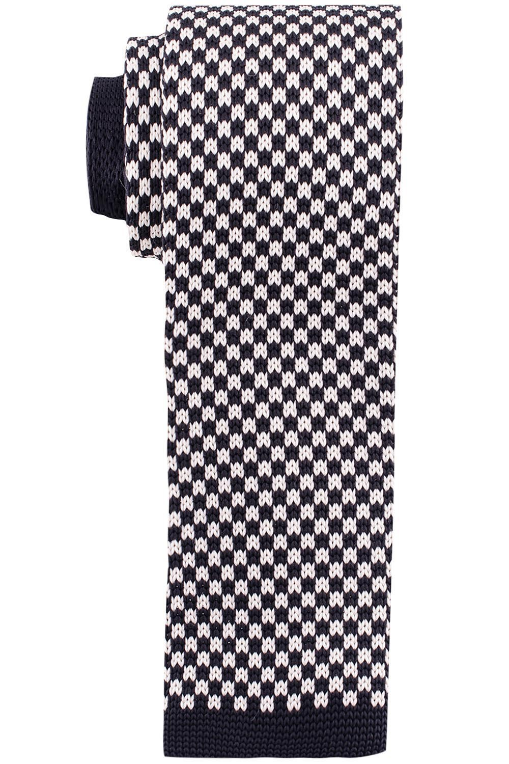 Black and White Plaid Slim Handmade Knitted Necktie