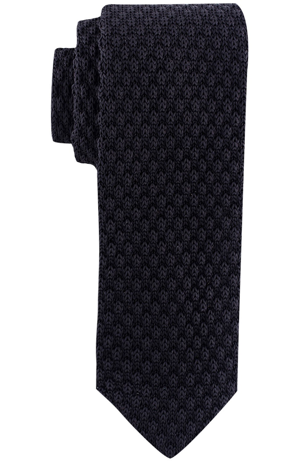 Solid Black Slim Handmade Knitted Necktie