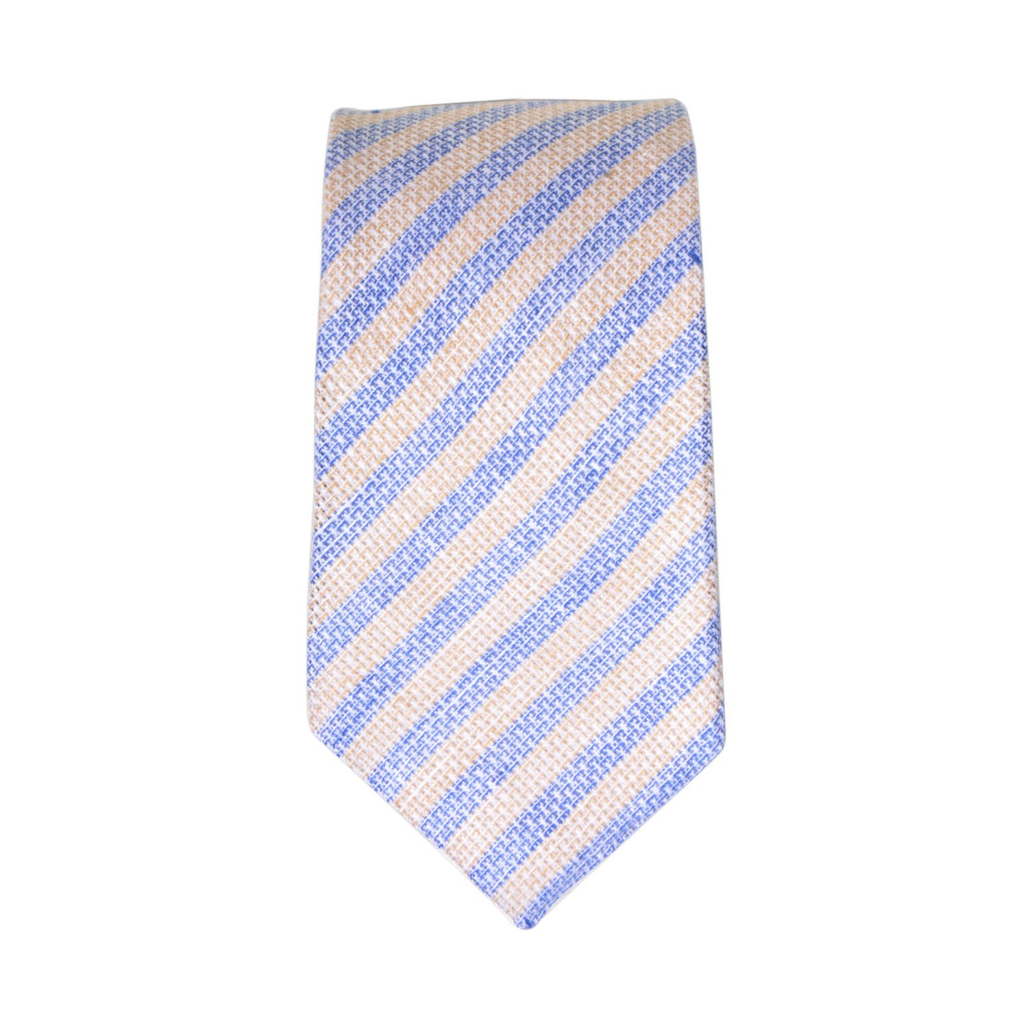 Blue and Brown Stripes 100% Pure Linen Necktie