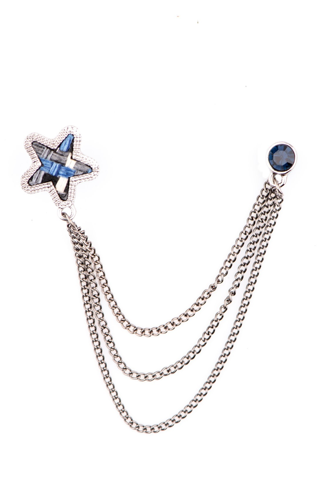 Star Blue Chain Metal Lapel Pin