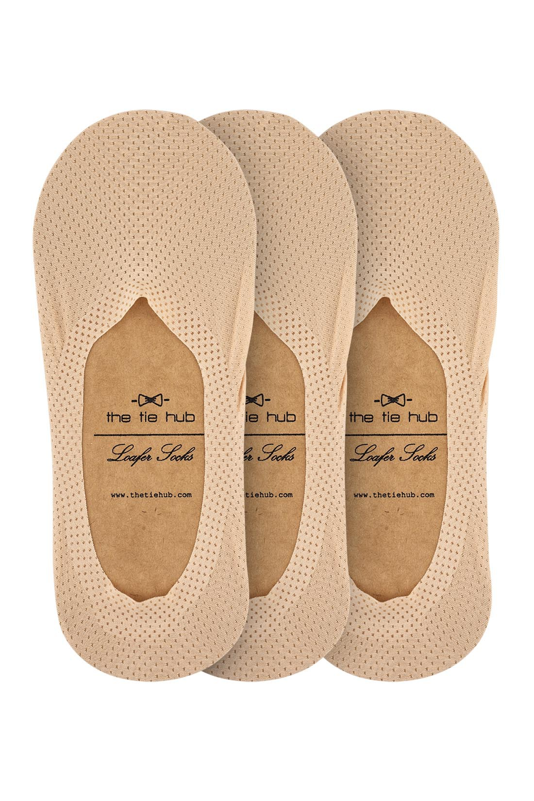 Pack of 3 Breathable Beige Loafer Socks - Silicon lining