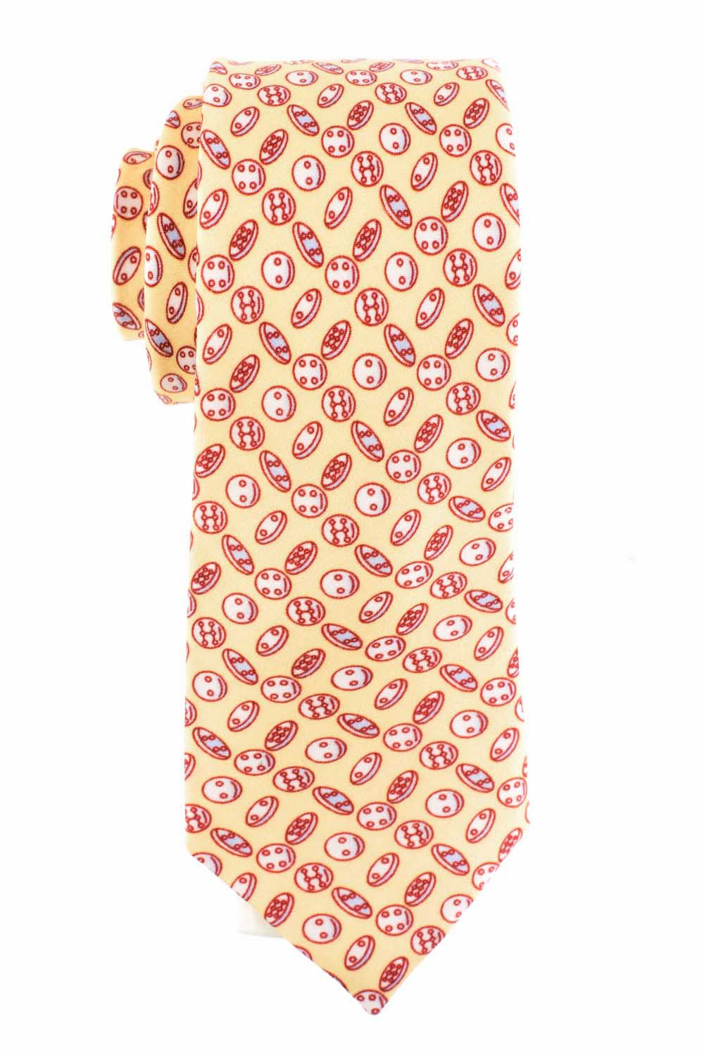 Cookies Print 100% Silk Cream Necktie
