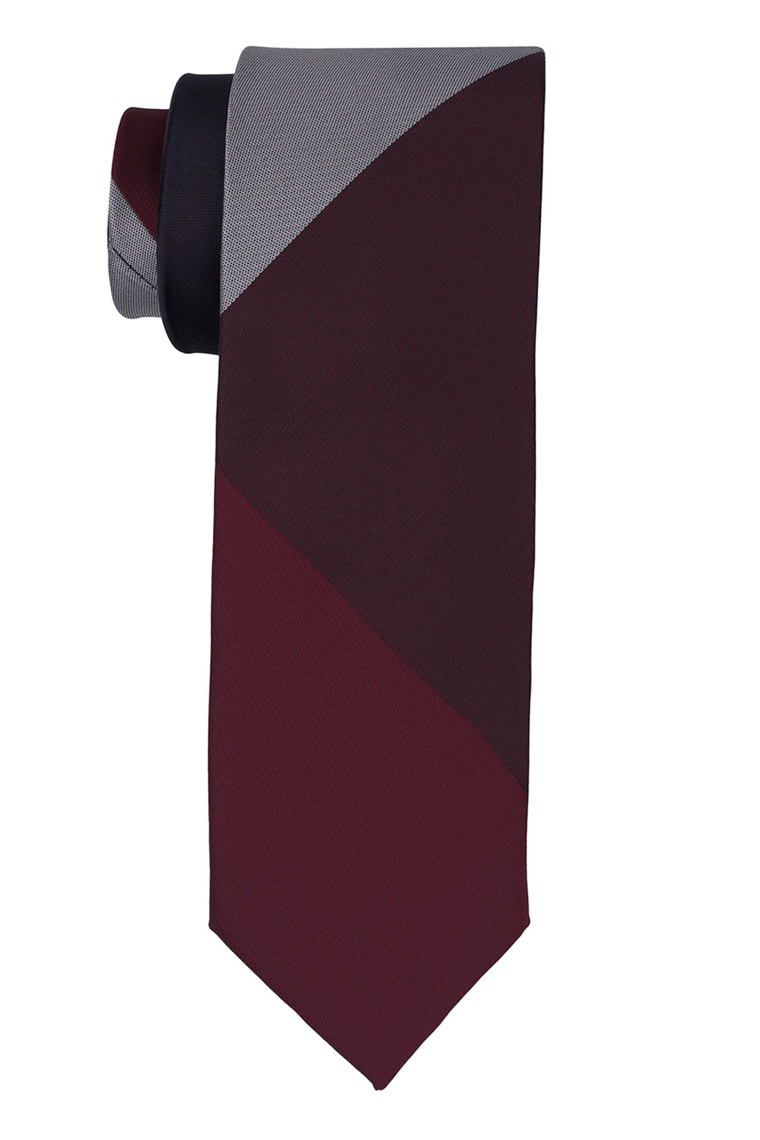 Muticolor Solid Maroon And Grey Silk Necktie
