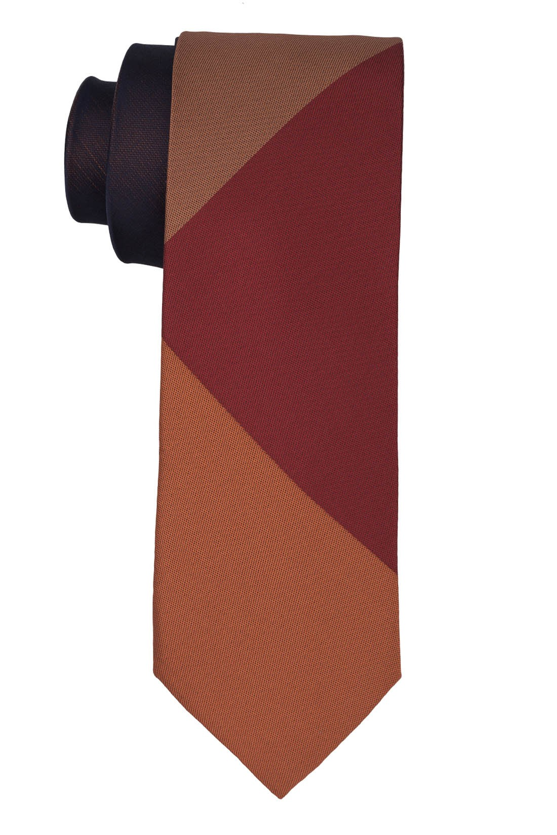 Muticolor Solid Orange And Maroon Silk Necktie
