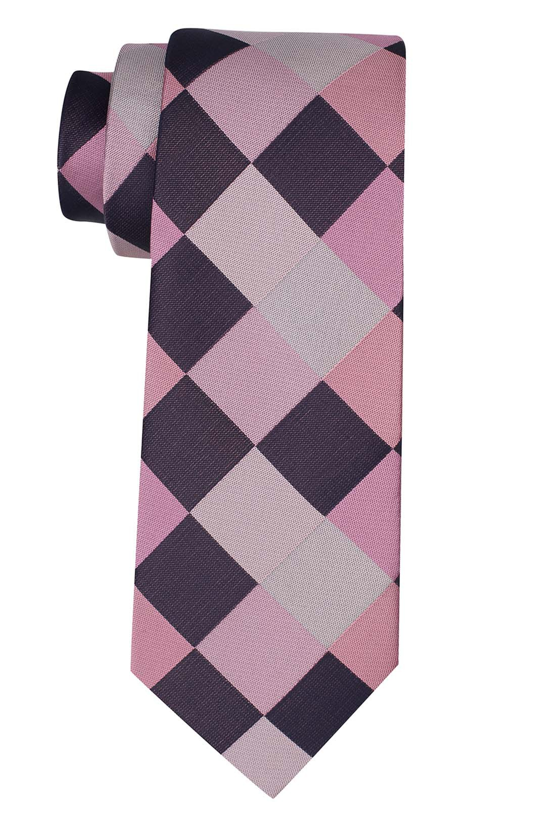 Asteria Checkered Pink And Purple Silk Necktie