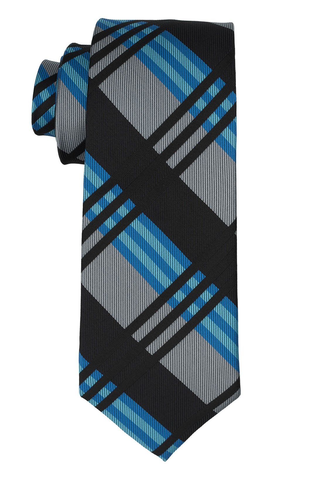 Sunrise Black And Grey Plaid Silk Necktie