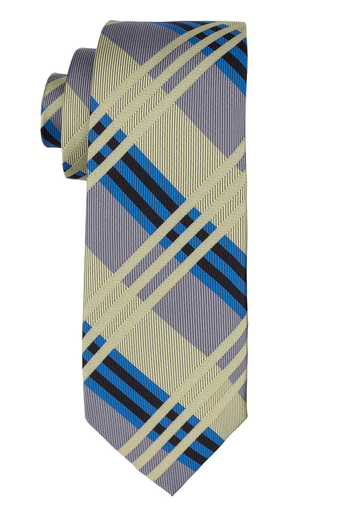 Sunrise Green And Grey Plaid Silk Necktie