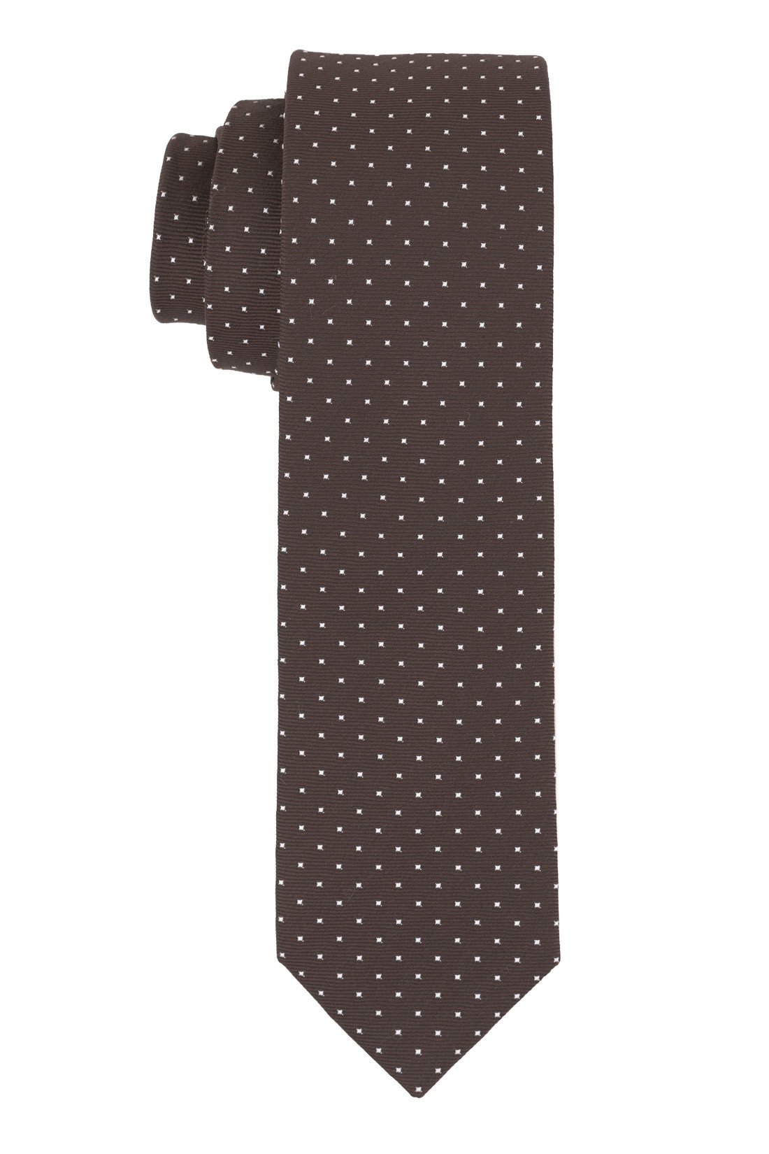 Free Fall Polka Brown 100% Silk Necktie