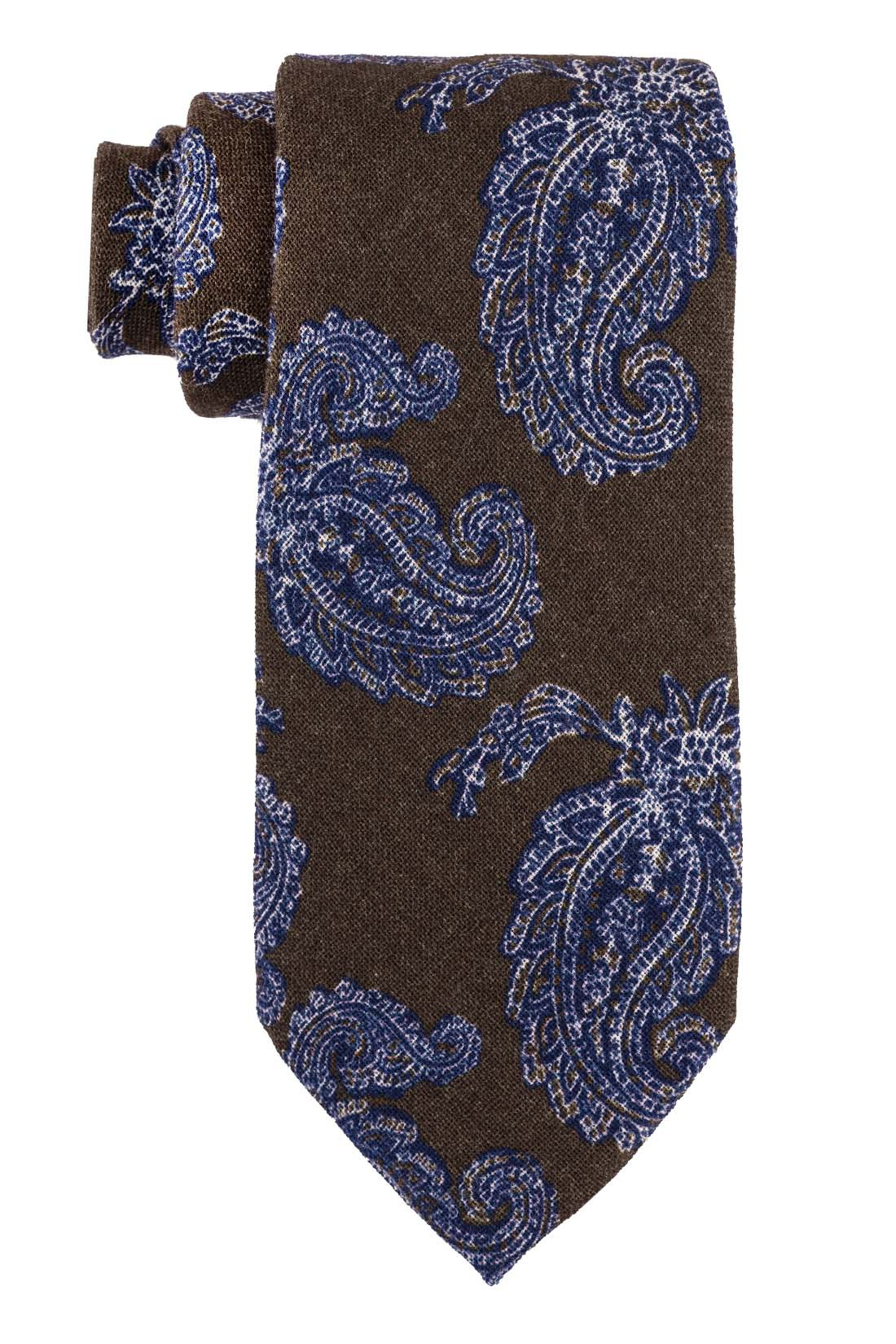 Trade Paisley Brown and Blue 100% Silk Necktie