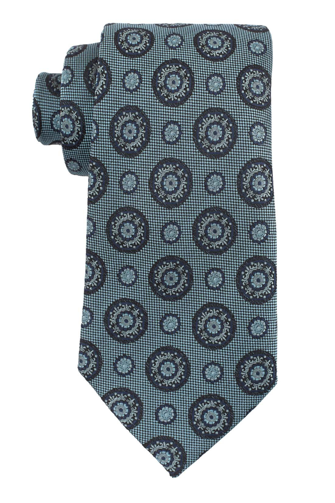 Ringside Polka Teal and Black 100% Silk Necktie