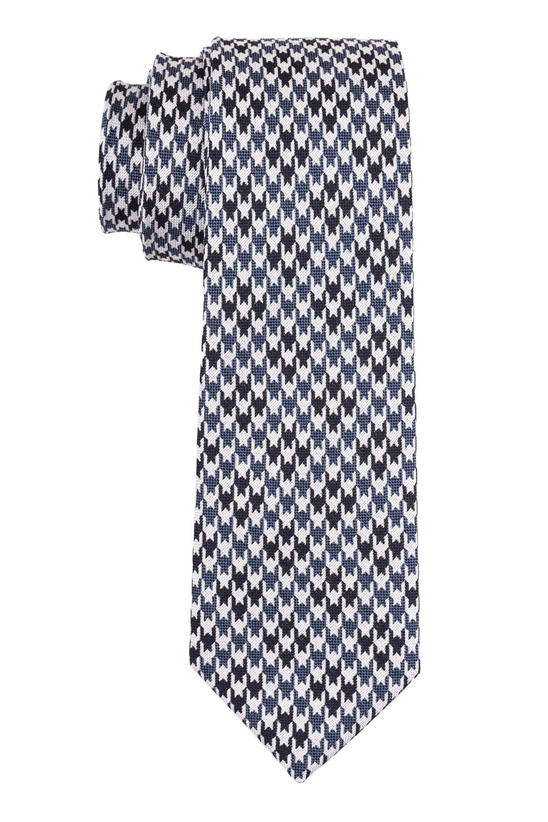 Houndstooth  White and Blue Plaid Necktie