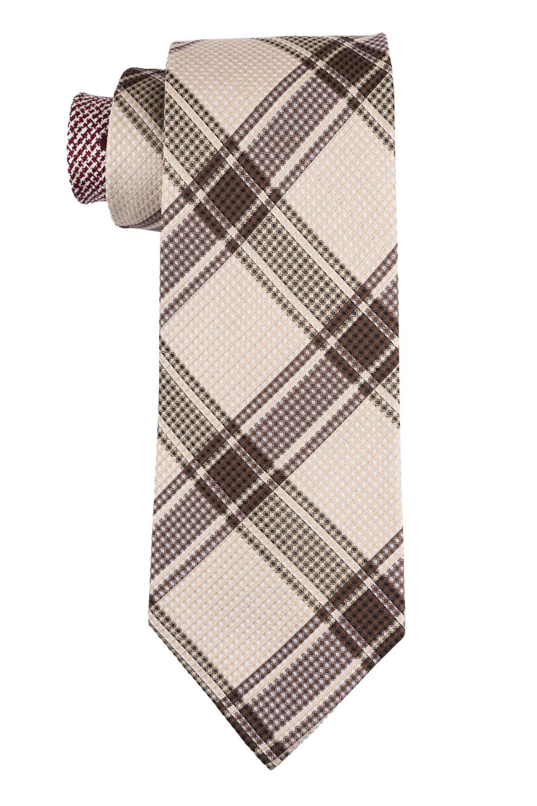 Wingman Plaid Yellow and Brown 100% Silk Necktie