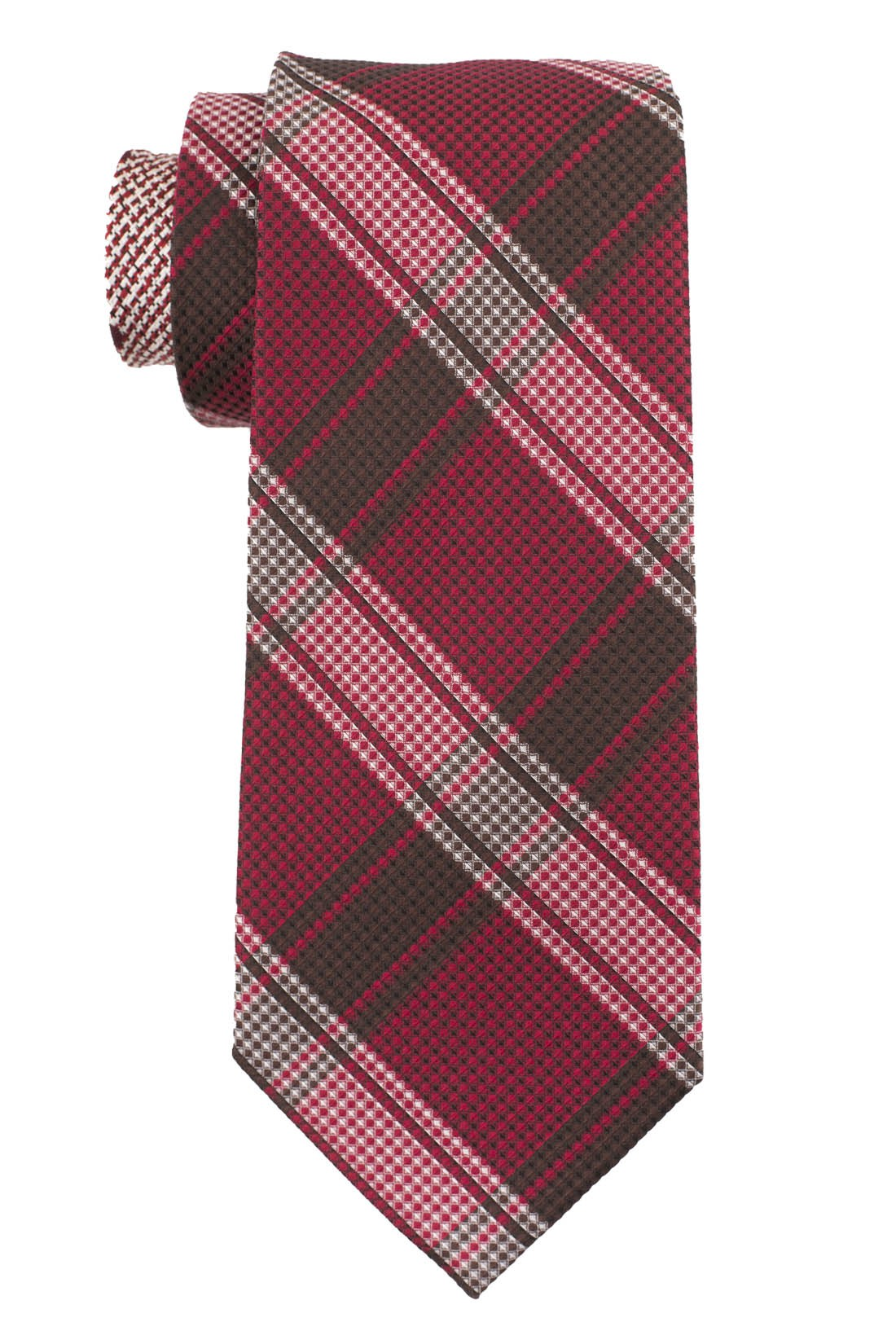 Wingman Plaid Red and Brown 100% Silk Necktie