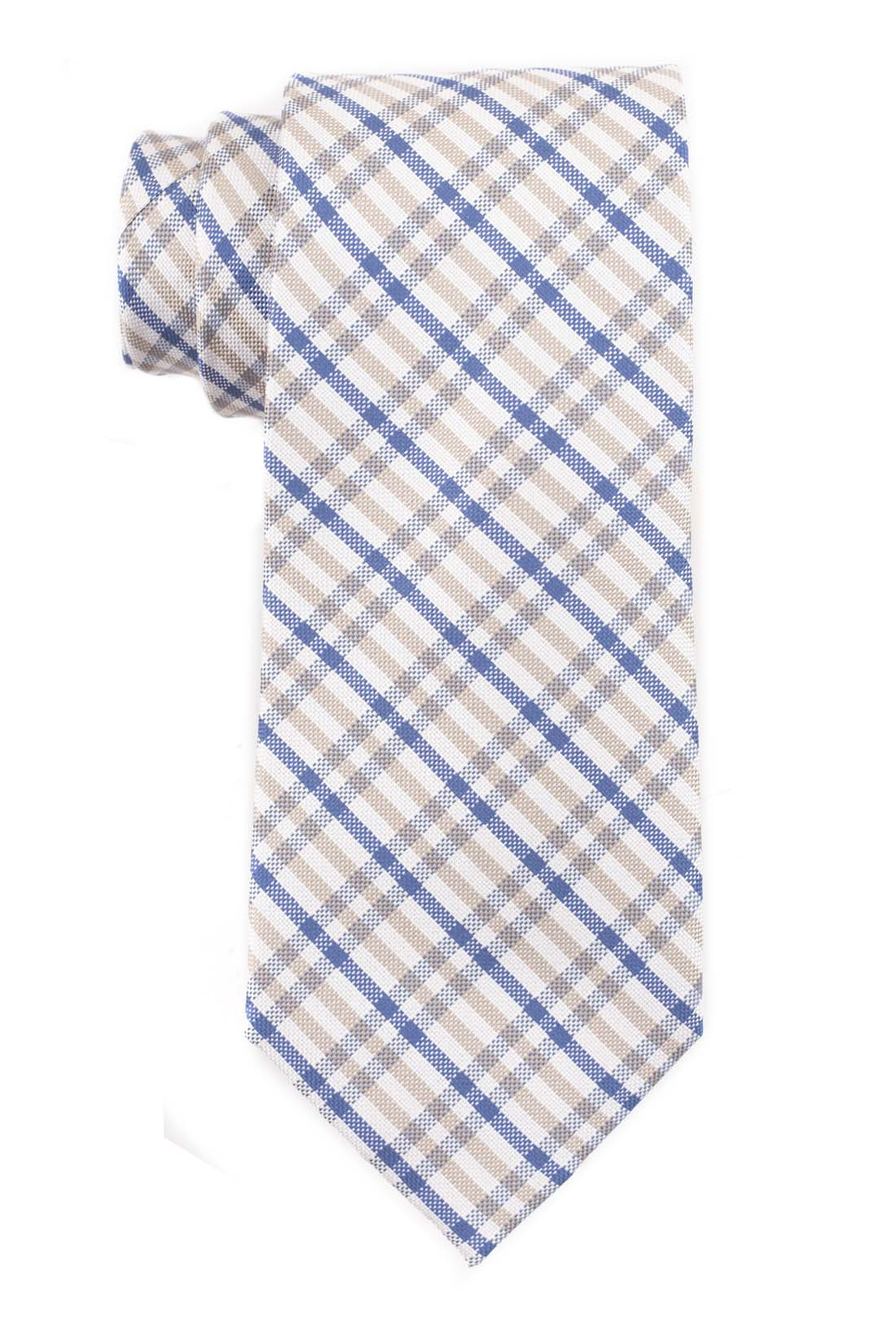 Jet Plaid Cream and Blue 100% Silk Necktie