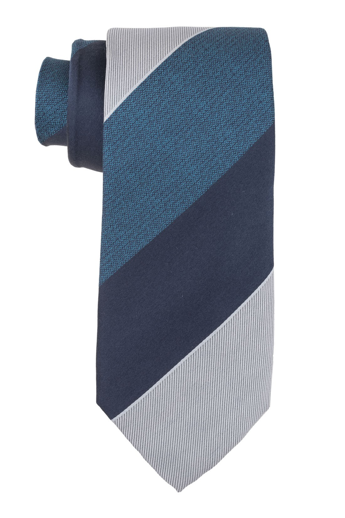 Scholar Stripe Teal and Grey 100% Silk Necktie