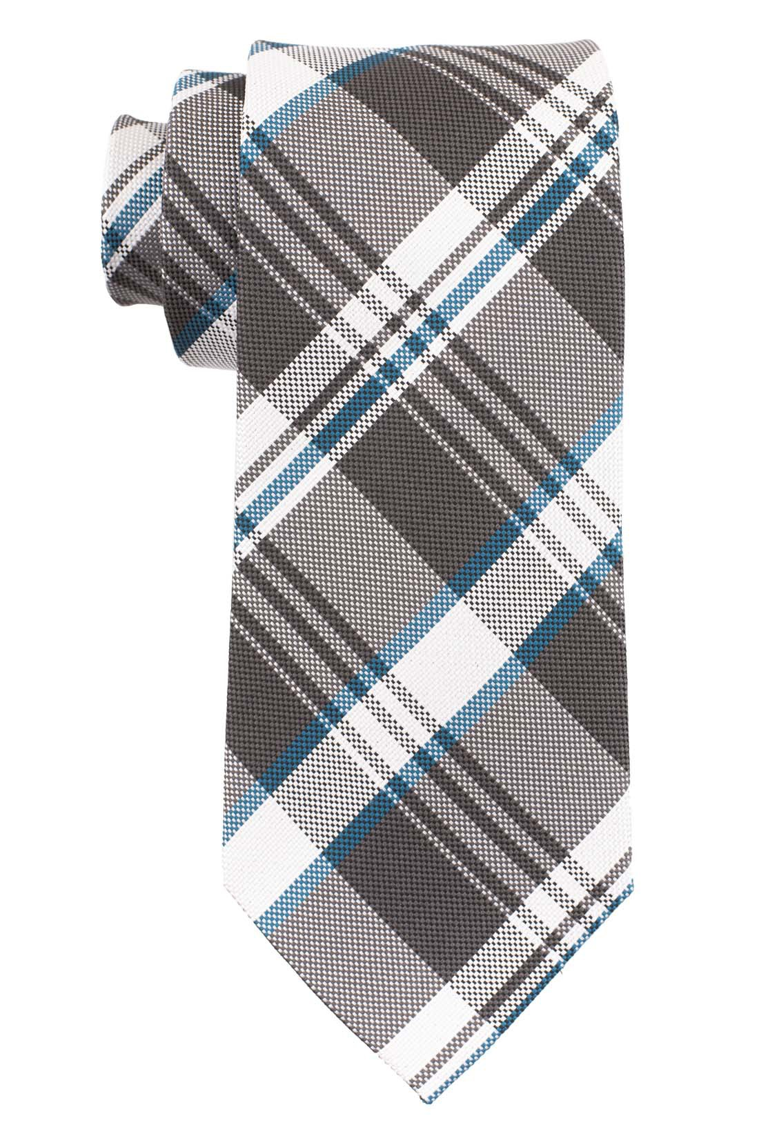 Reprint Plaid Black and Teal 100% Silk necktie