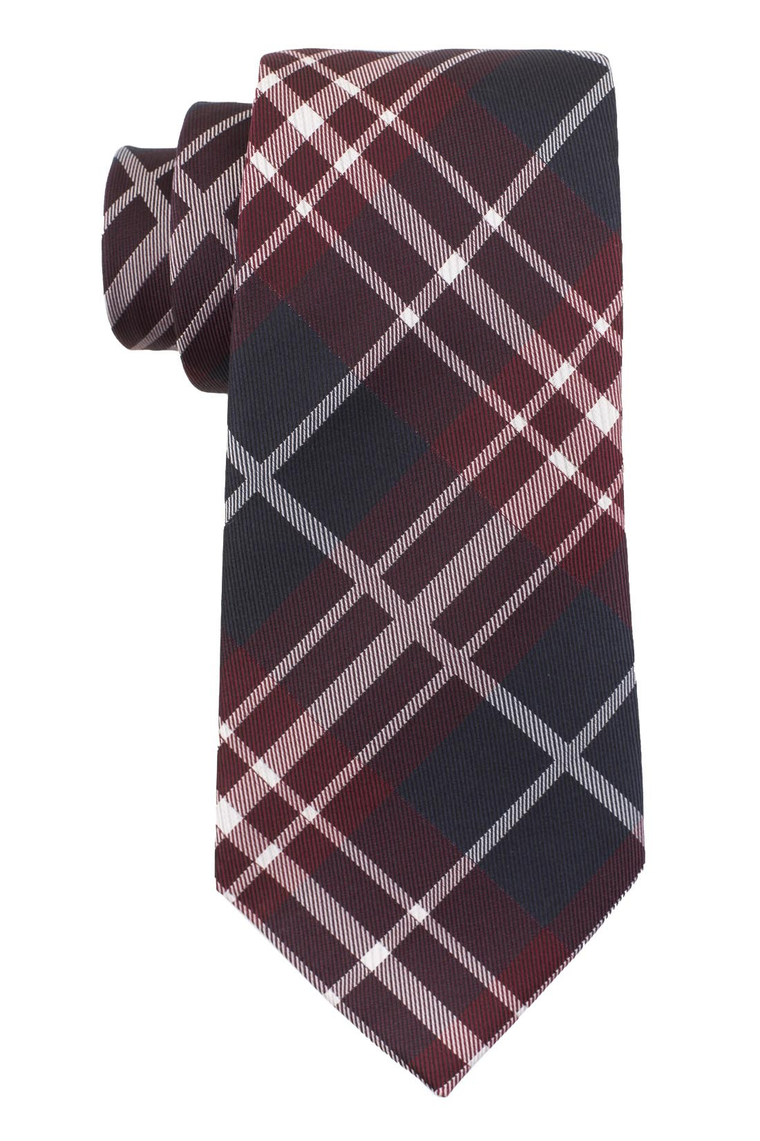 Parker Plaid Red and Blue 100% Silk Necktie