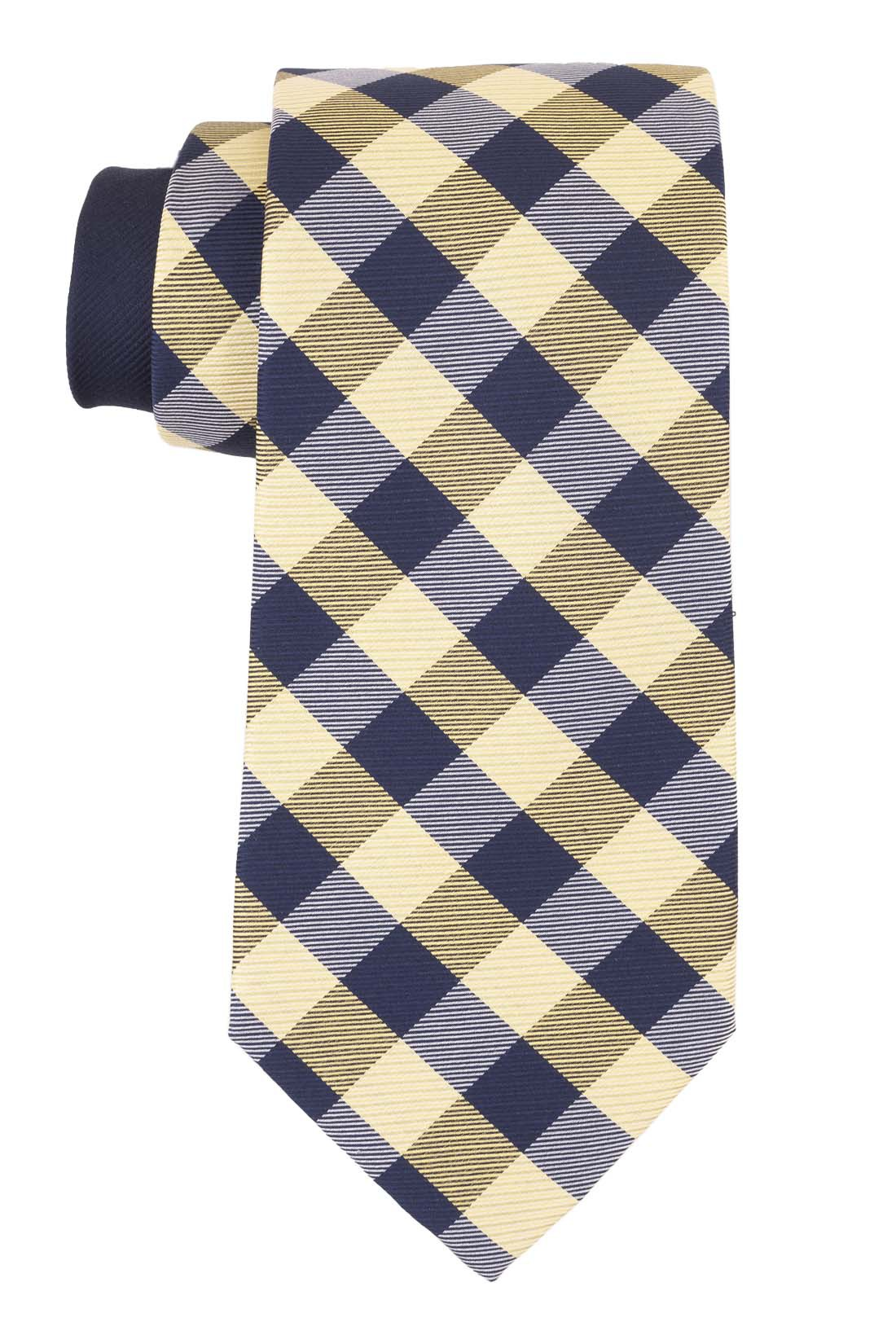 Oid City Checks Yellow and Blue 100% Silk Necktie