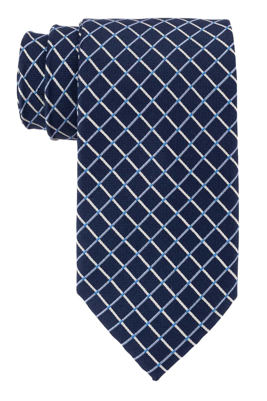 Power Plaid Navy and Sky Blue 100% Silk Necktie