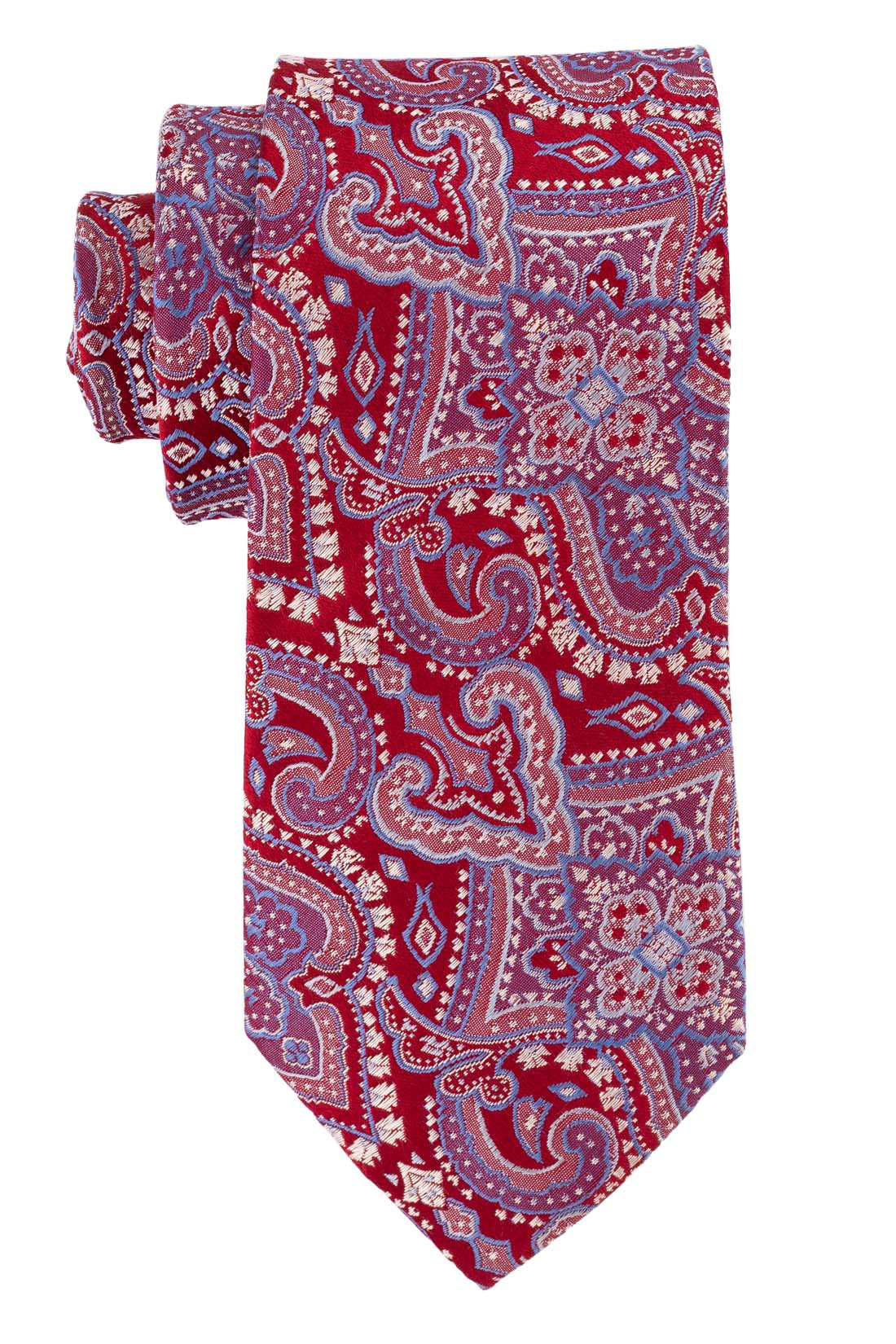 Twill Paisley Red and Blue 100% Silk Necktie