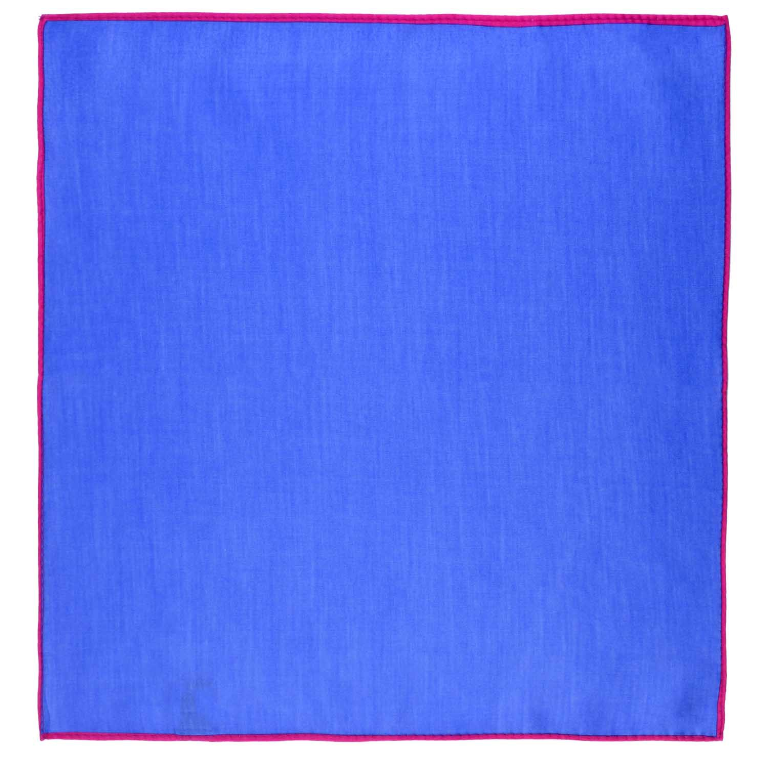 Weldner Solid Deep Blue Pocket Square with Pink Border