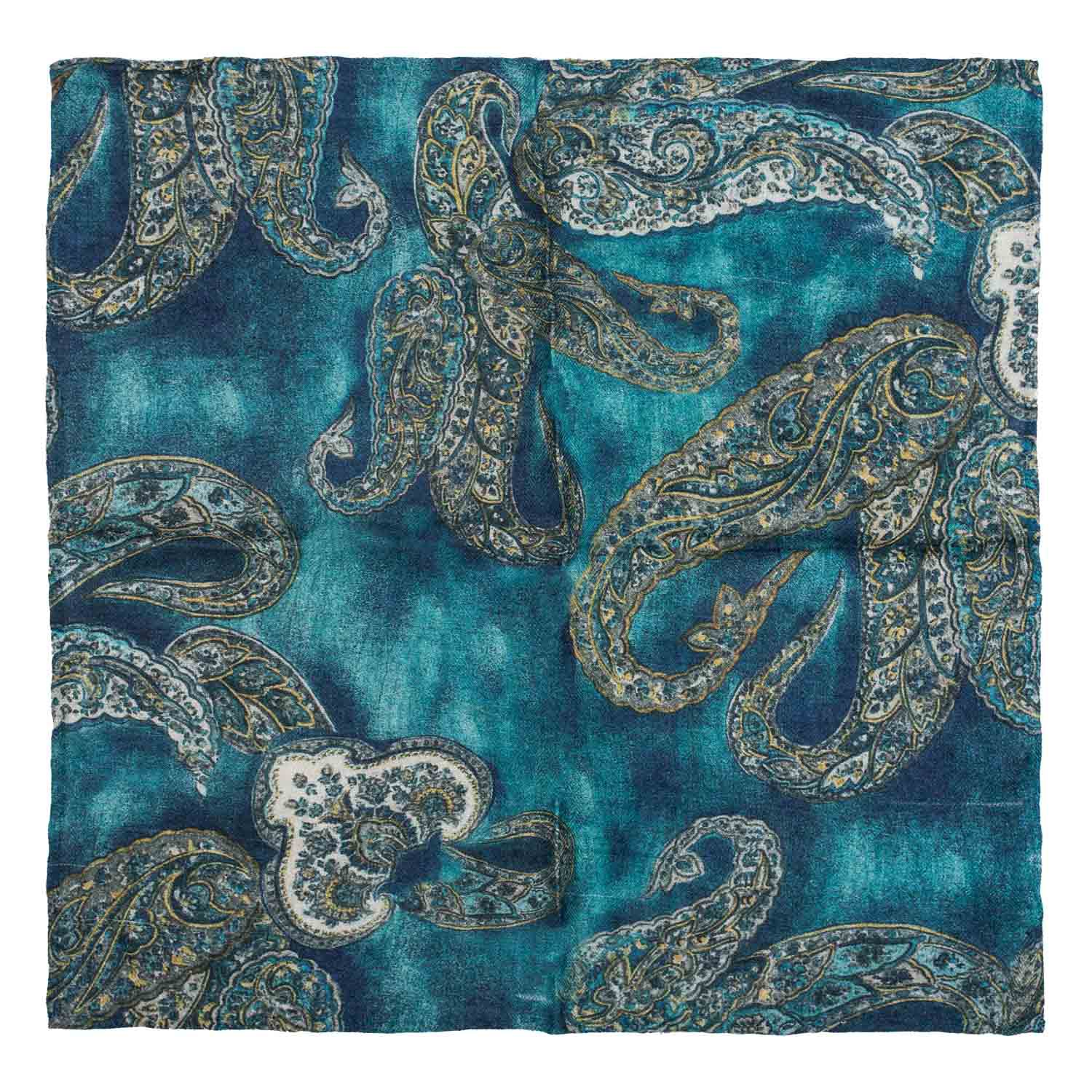 Paisley Green 100% Pashmina Pocket Square