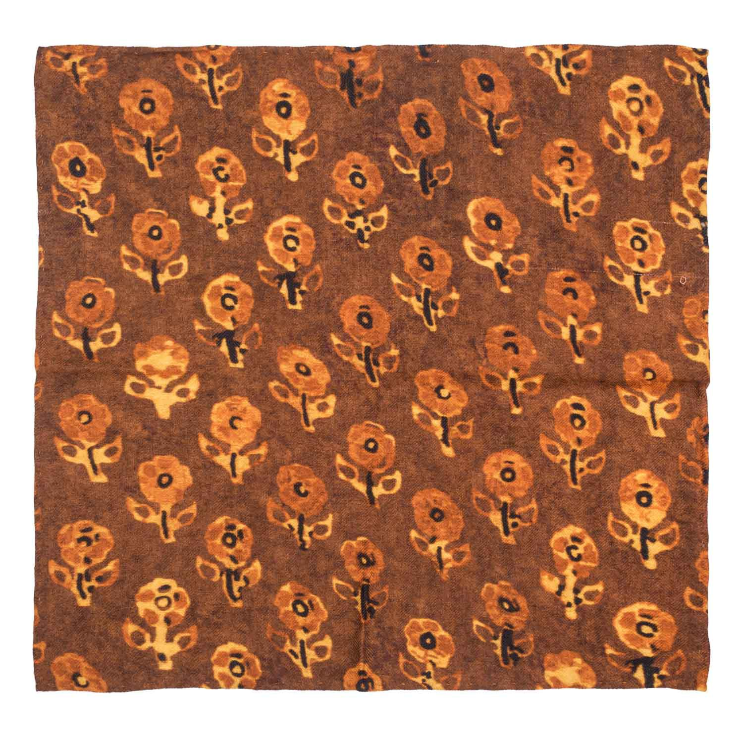 Floral Mark Mustard 100% Pashmina Pocket Square