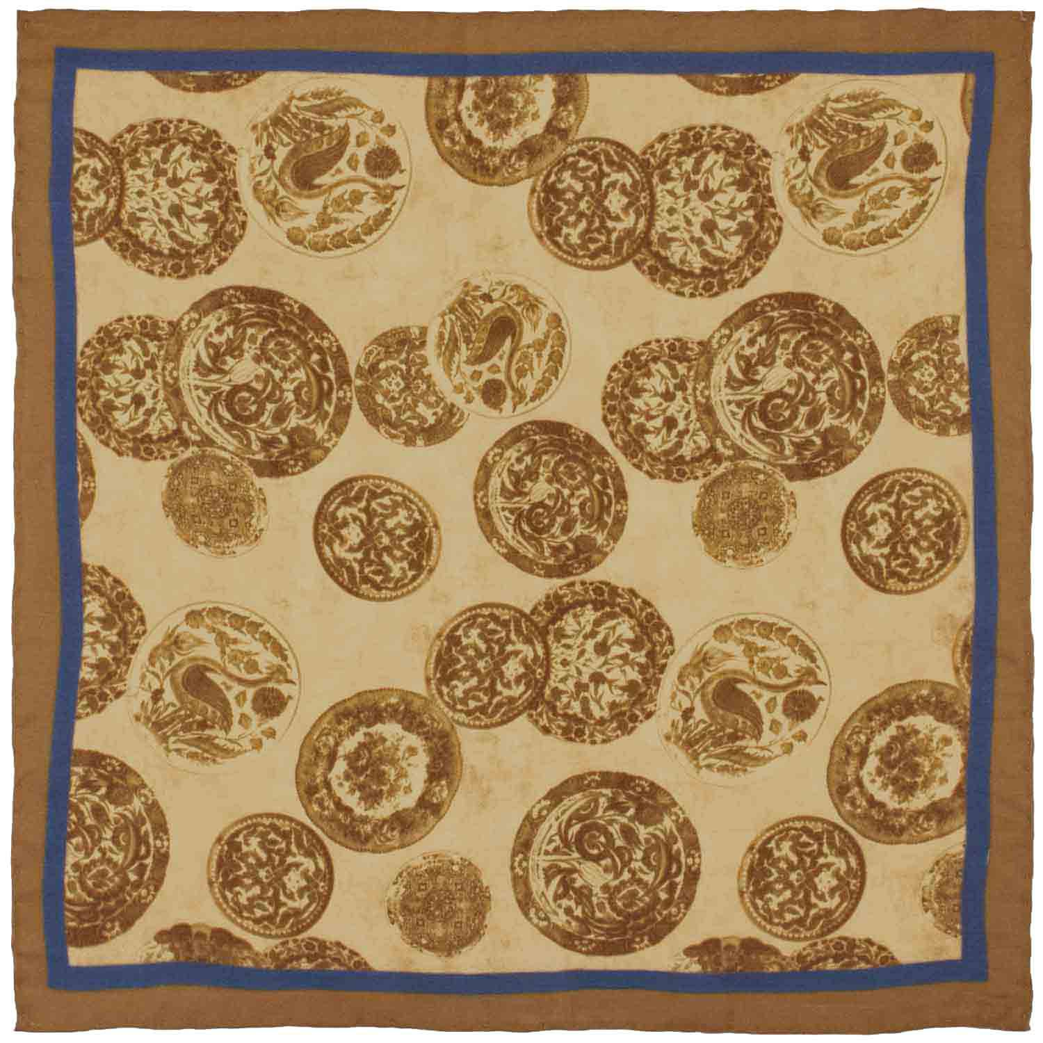 Trendy Brown Paisley 100% Silk Pocket Square