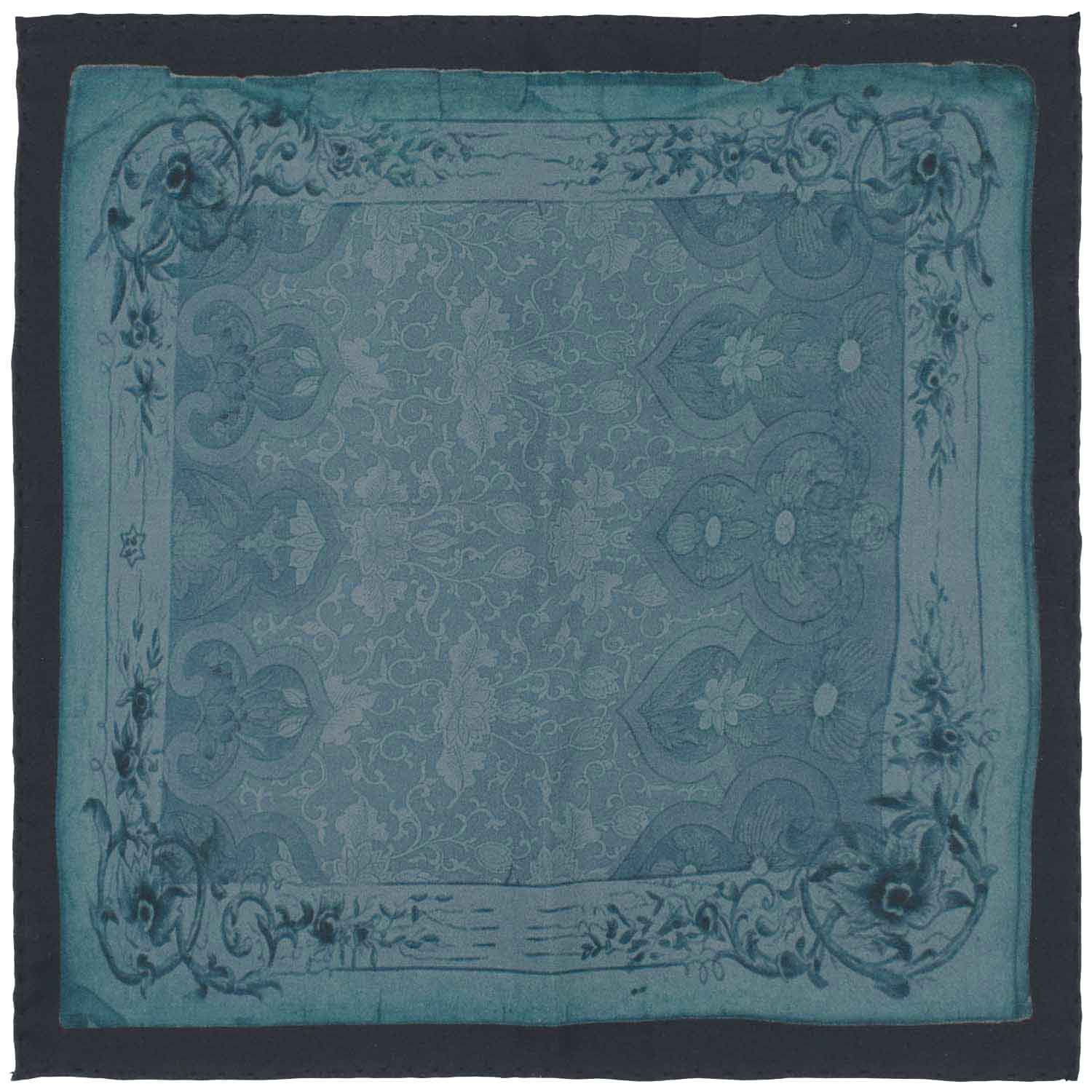 Fring Blue Paisley 100% Silk Pocket Square