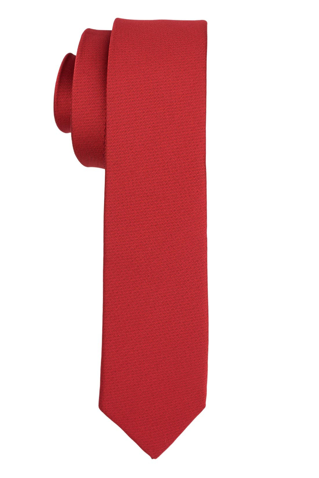 Solid Red Ultra Thin Microfiber Necktie