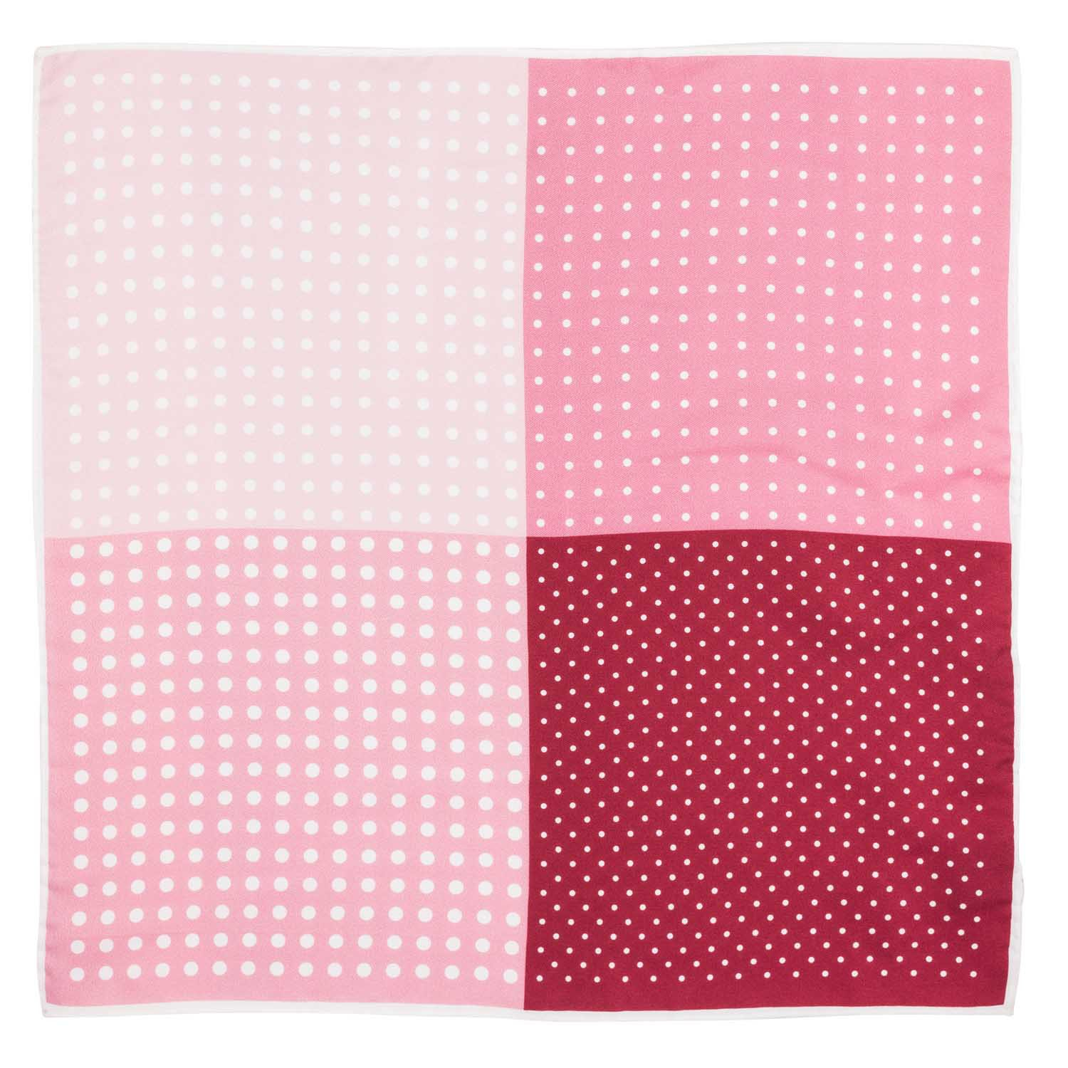 Four Square Polka Pink Silk Pocket Square For Men By The Tie Hub
