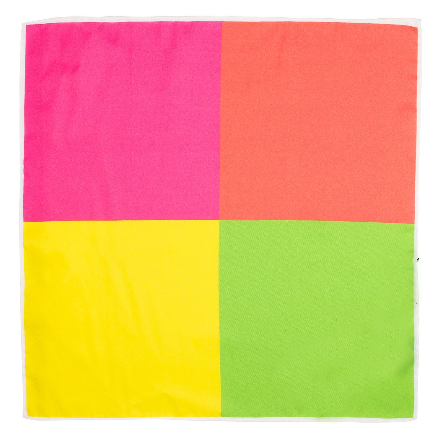 Four Square Solid Fluorescent colors Silk Pocket Square For Men By The Tie Hub