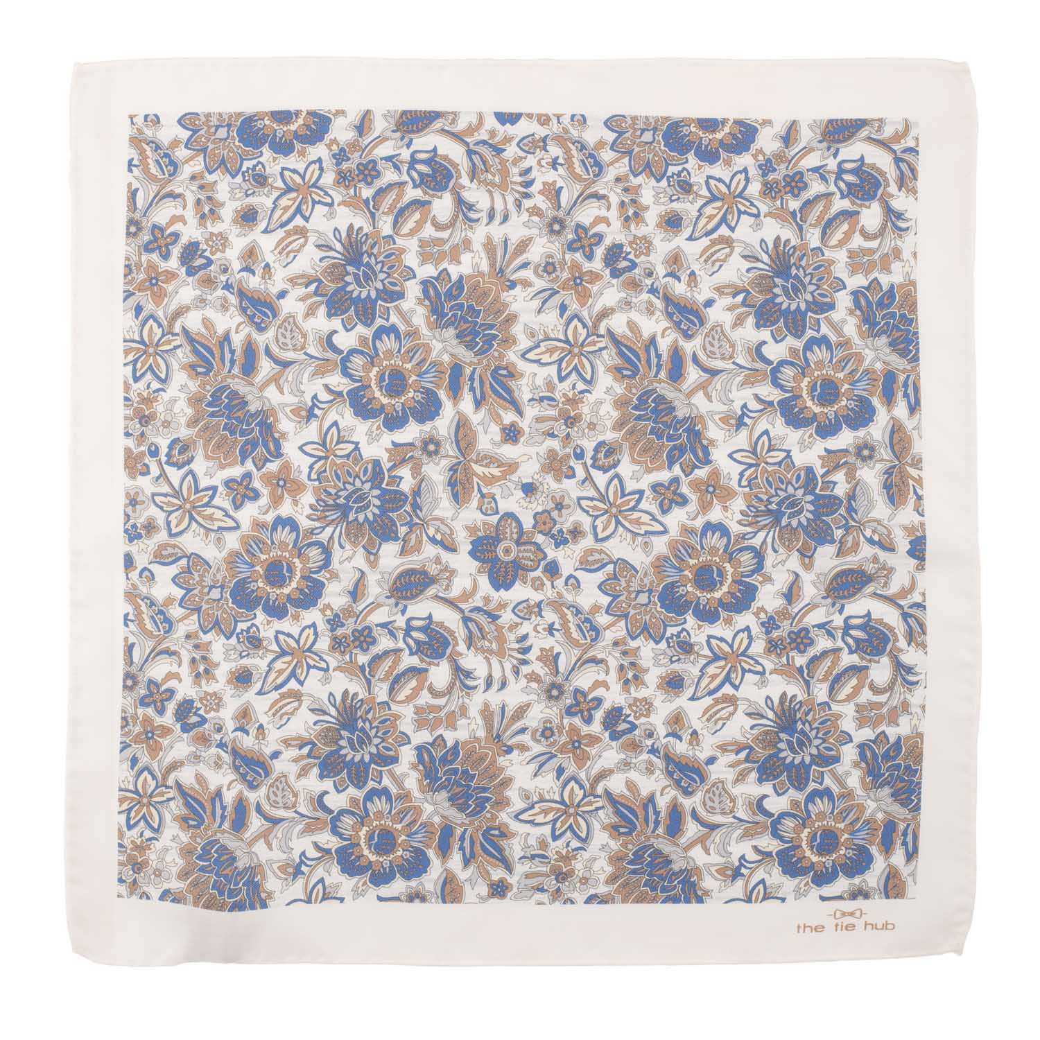 White and Cream Floral 100% Pocket Square