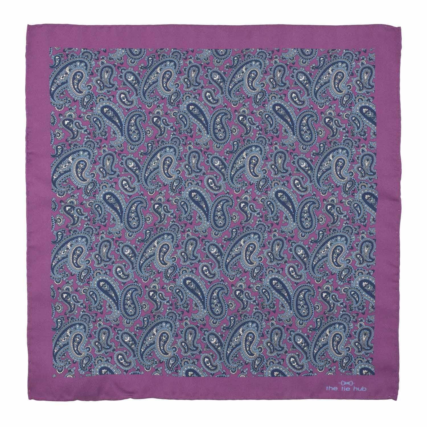 Purple With Blue Paisley 100% Silk Pocket Square