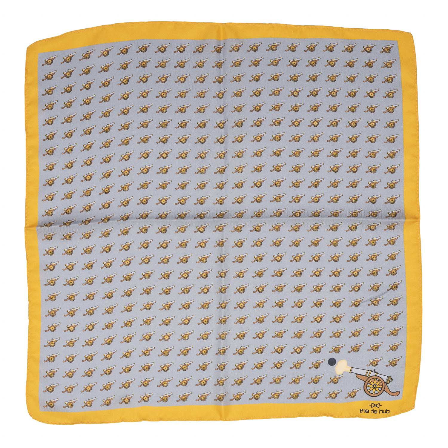 Cannon Grey and Yellow 100% Silk Pocket Square