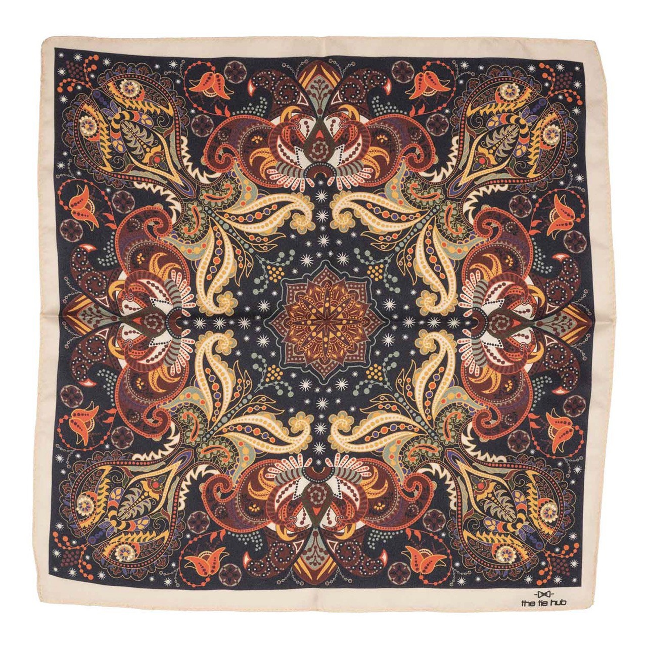 Brown and Cream Printed 100% Silk Pocket Square