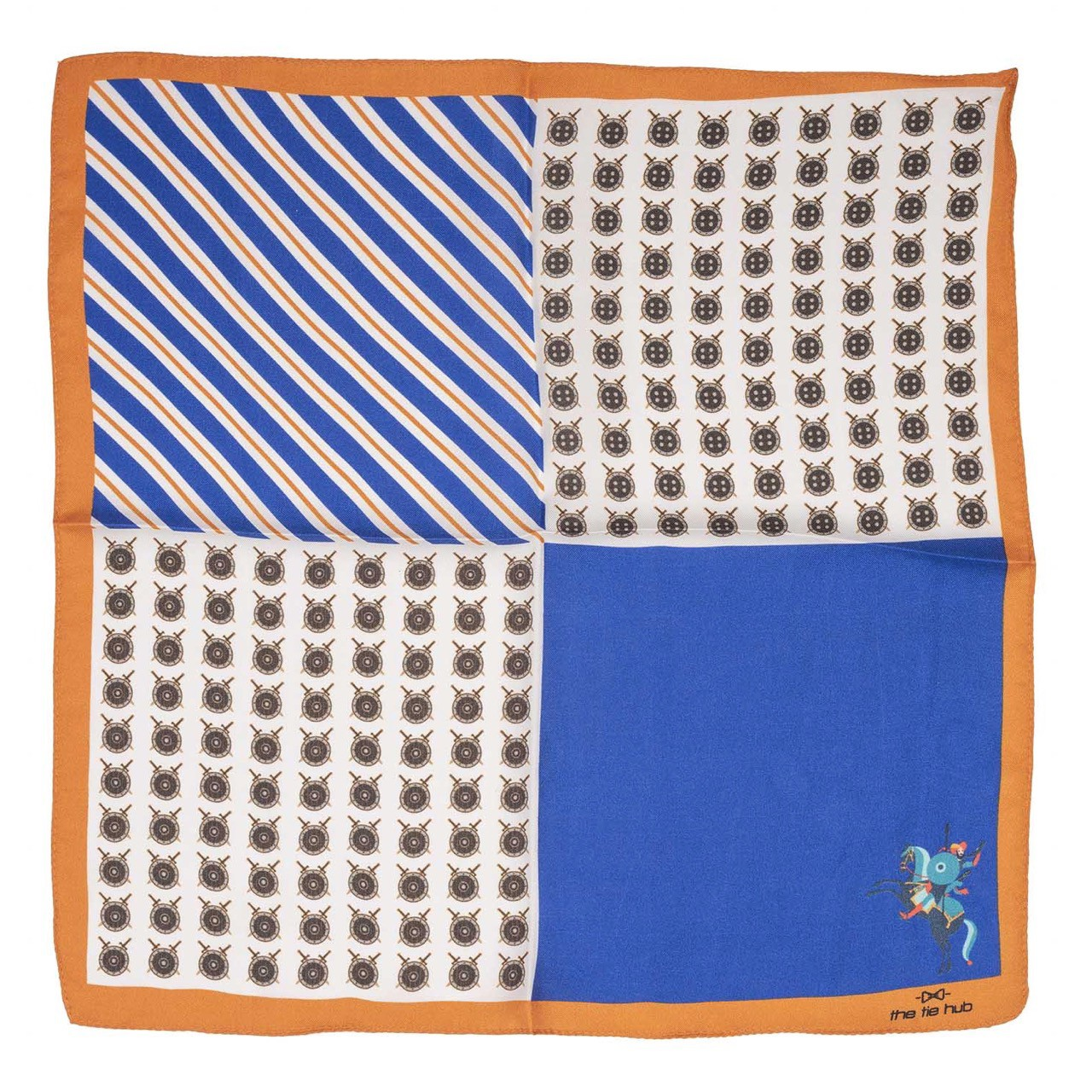 Shield blue and Cream Four in one 100% Silk Pocket Square