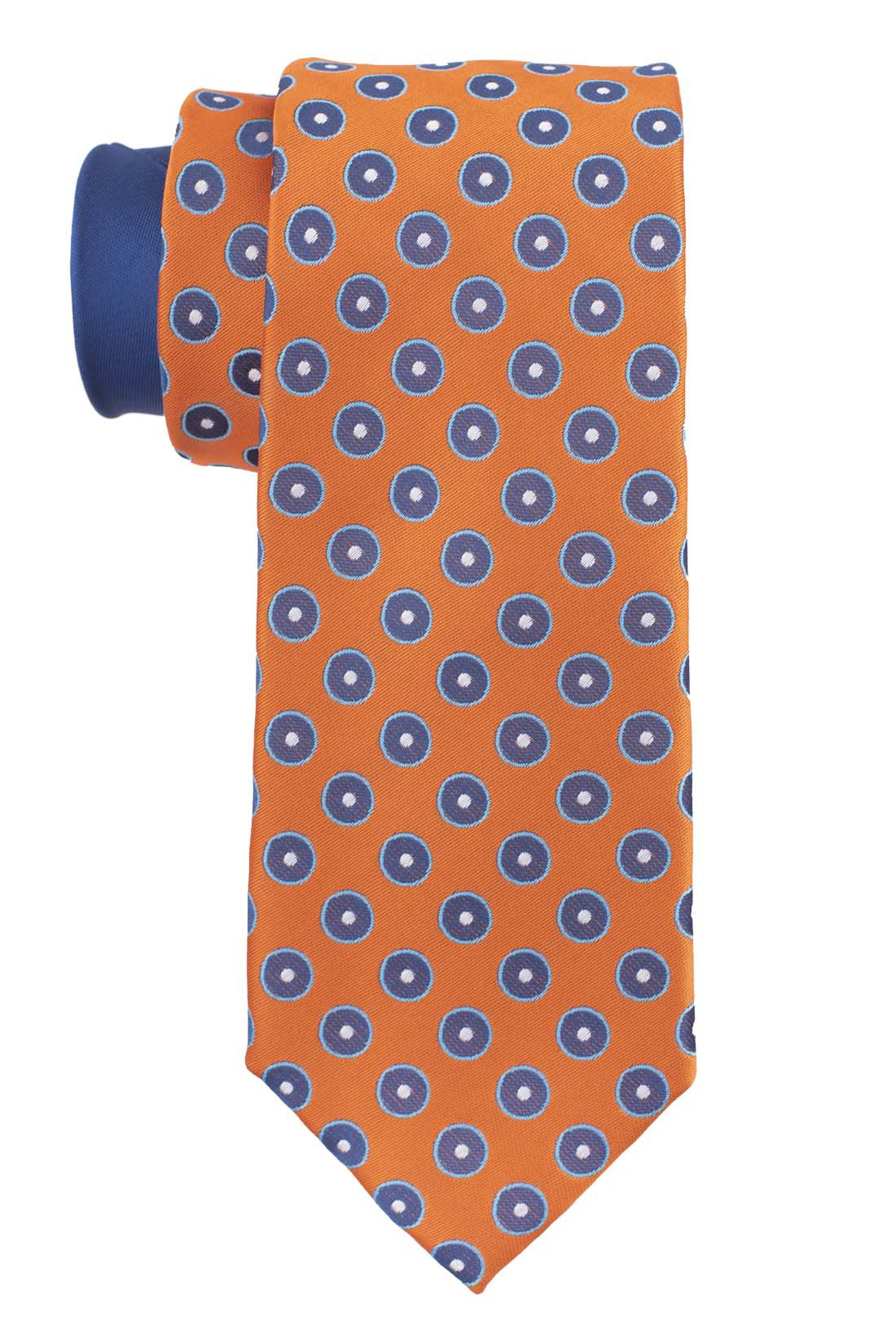 Pulsating Polka Orange Silk Necktie