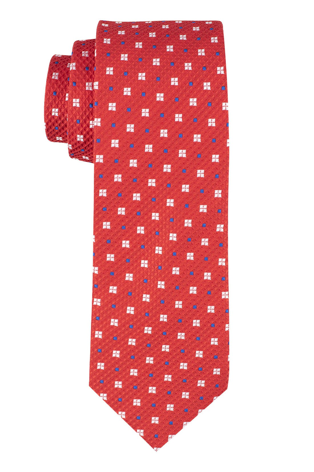Red with White Floral 100% Microfiber Necktie
