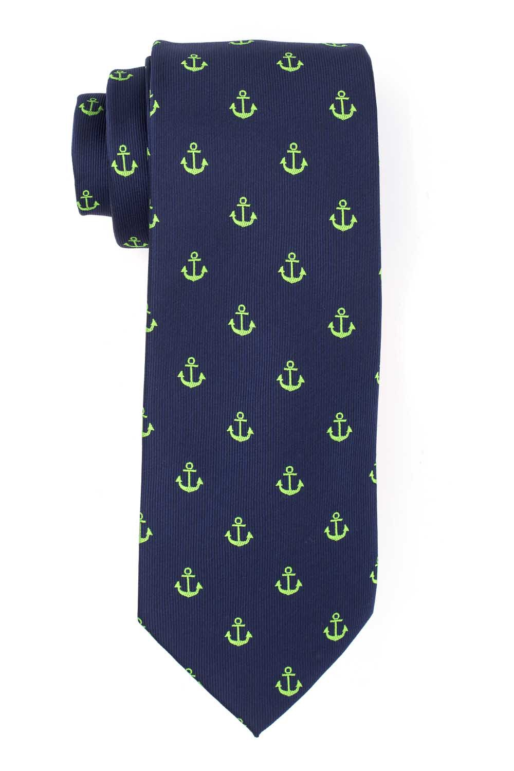 Blue with Green Anchor Microfiber Necktie