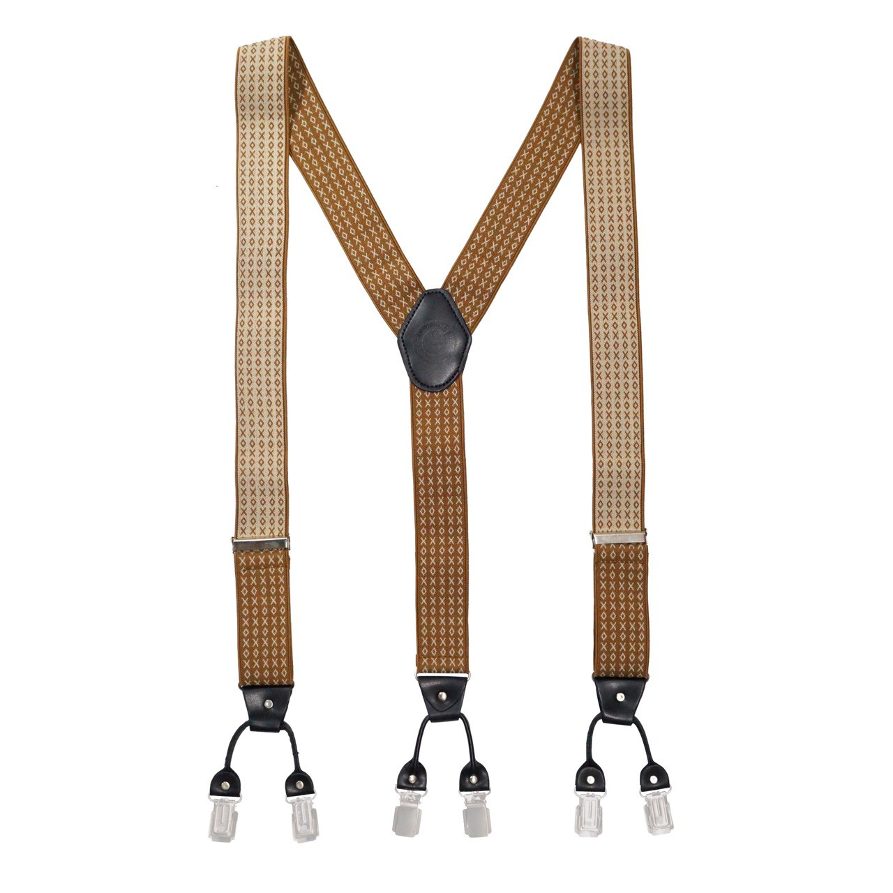 Tic Tac Toe  - Brown/White y Back Suspender