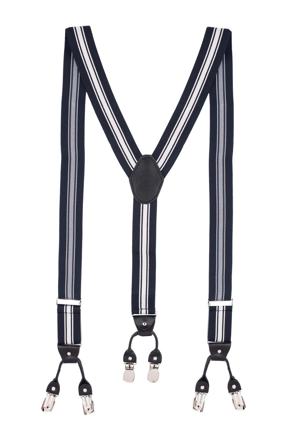 Lumber Stripe Blue Y Back Suspender