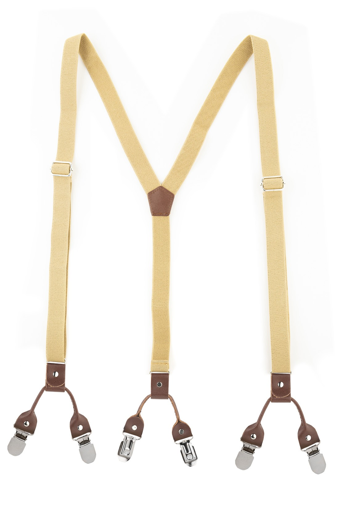 Ringside Solid Beige Y Back Slim Suspender