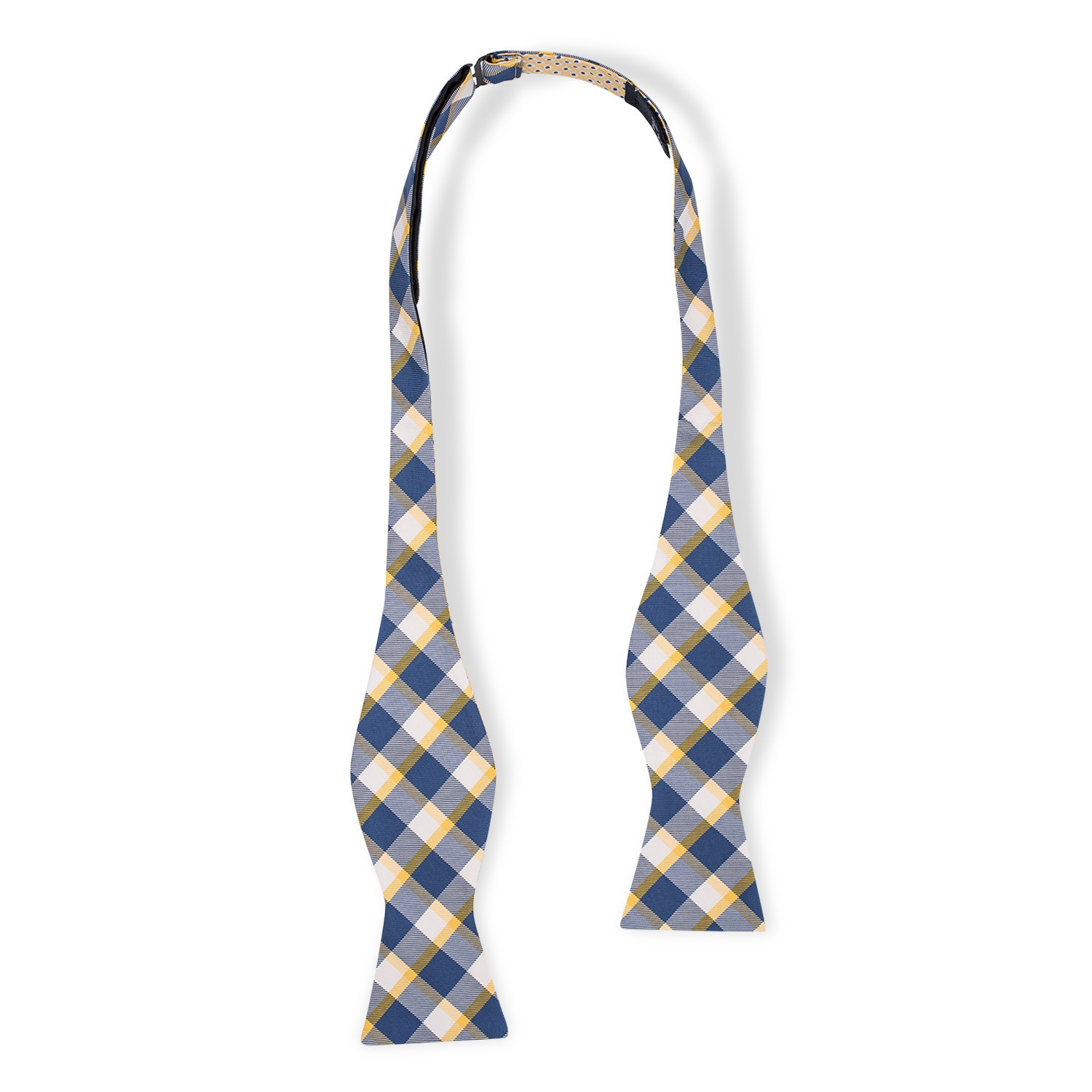 Stein Checks Yellow And Blue Reversible Silk Self Tie Bow Tie