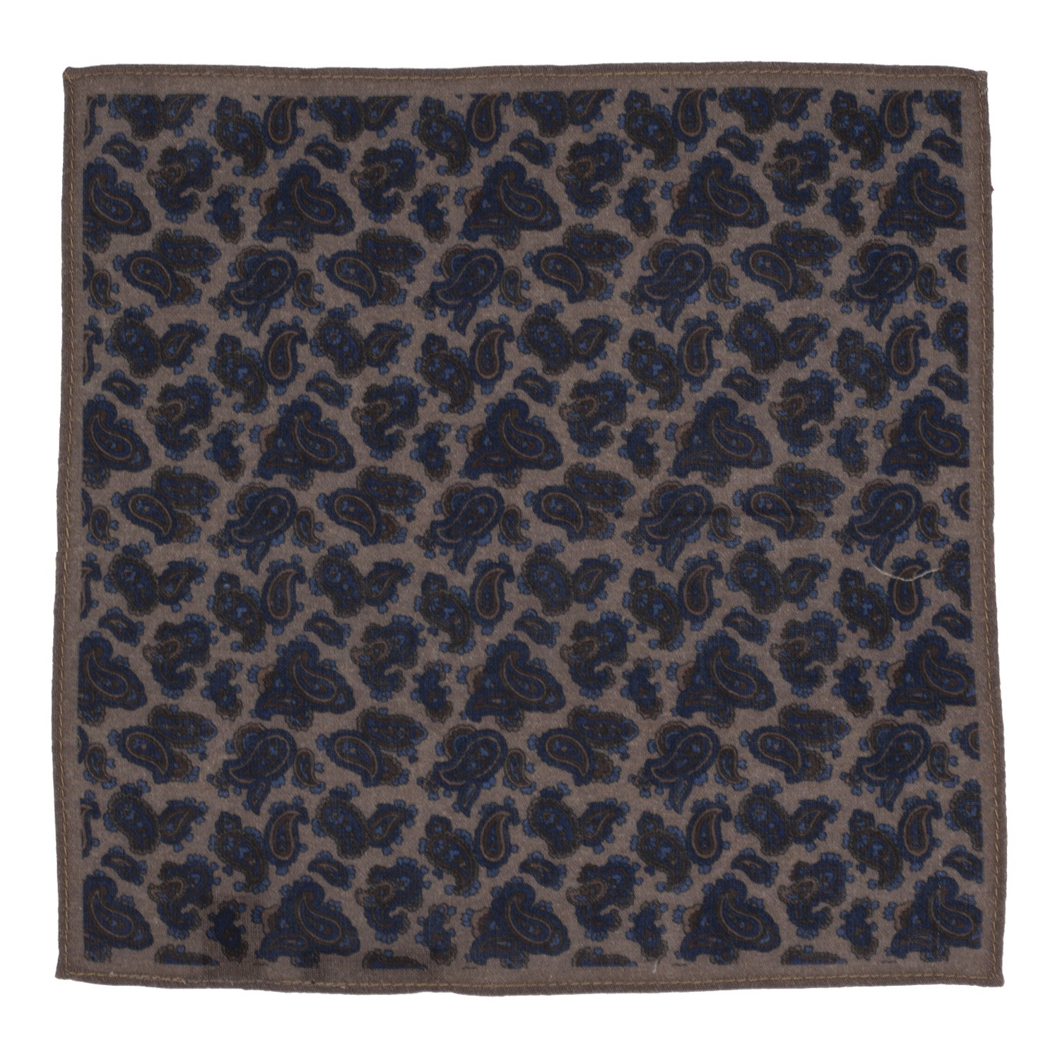 Small Paisly Print Brown and Blue Wool Pocket Square