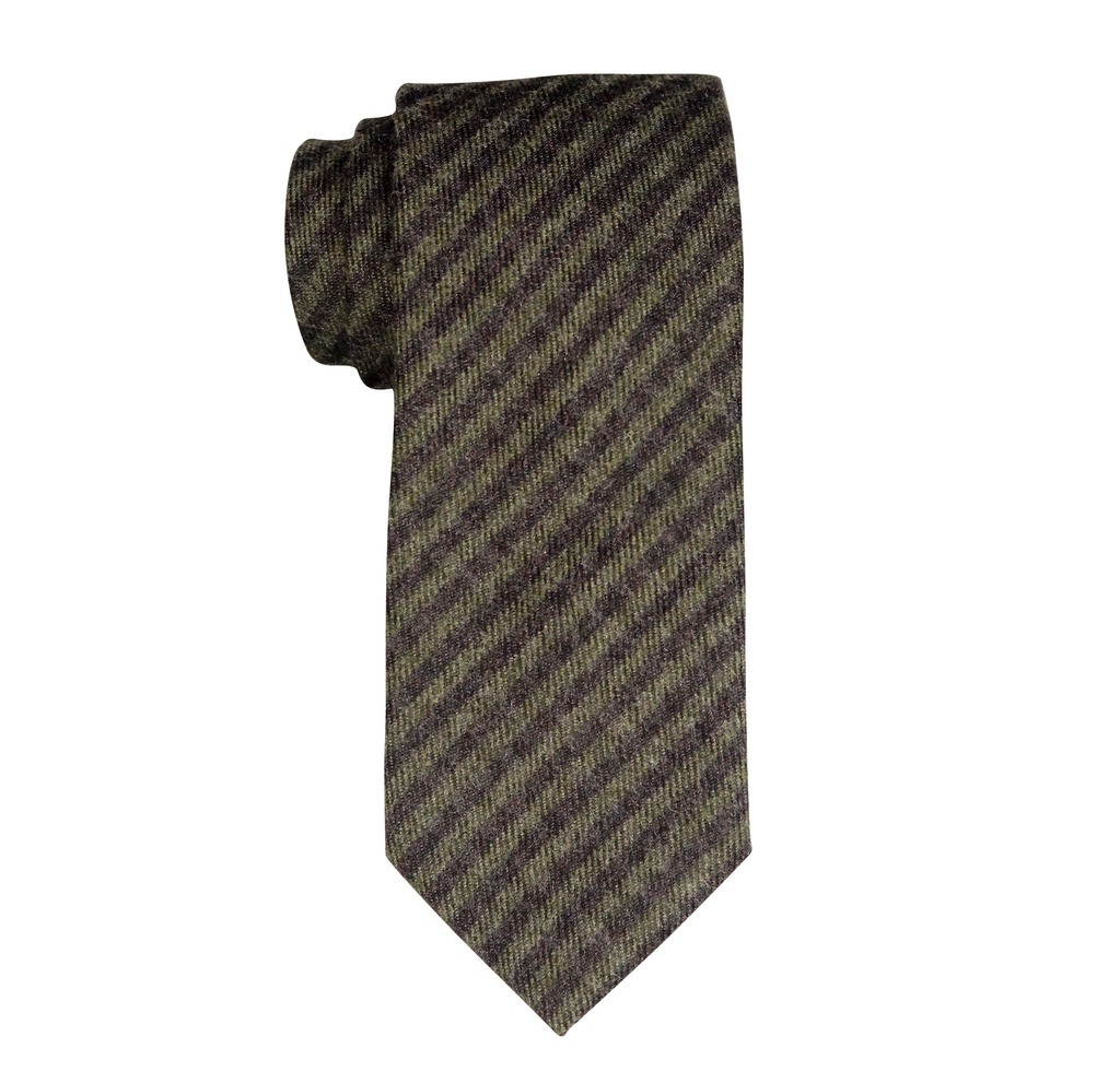Tinted Brown And Grey Plaid Regular 100% Wool Necktie