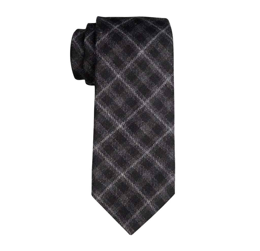 Azalea Black and Grey Plaid 100% Wool Necktie