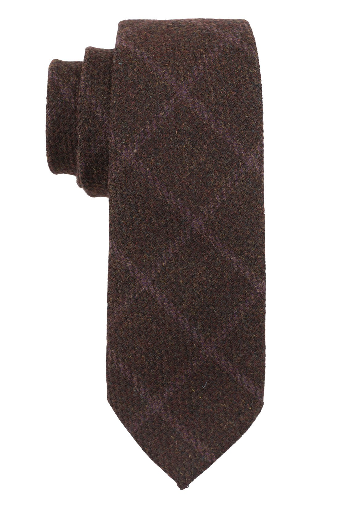 Brown With Purple Checks Necktie