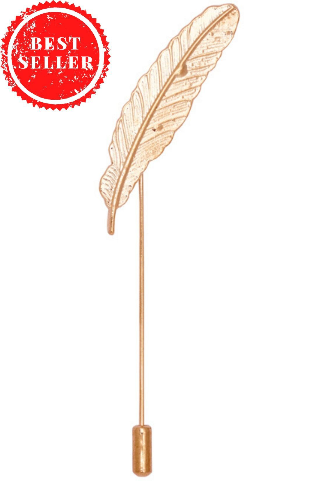 Feather Large Metal Lapel Pin - Gold