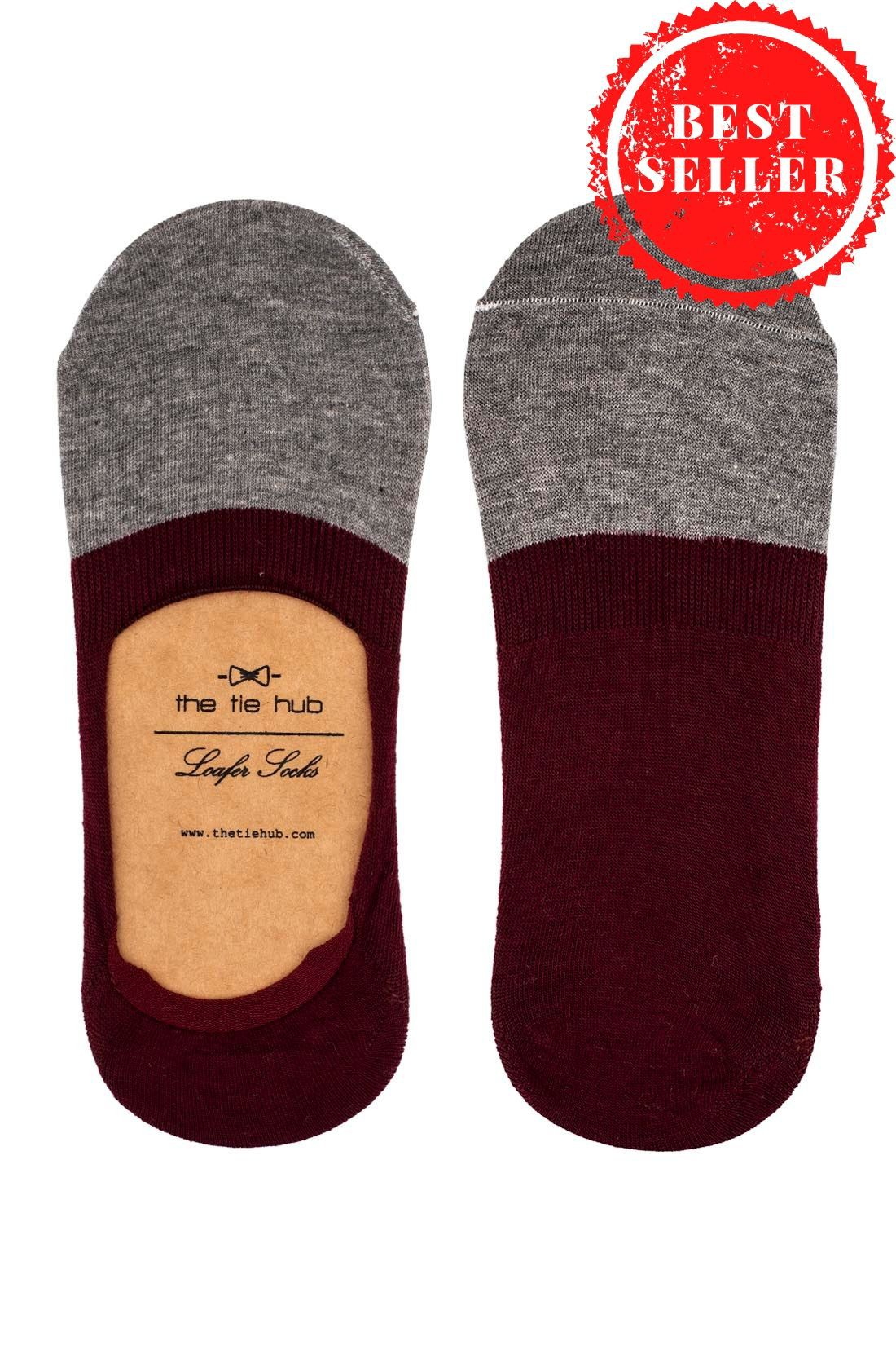 Parker Two Color Loafer socks - Maroon/Grey